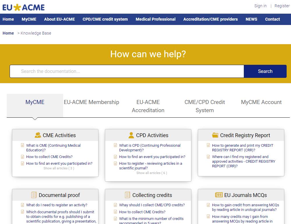 EUACME_MyCME_KnowledgeBase