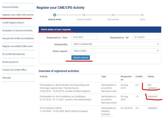 MyCME How to - Check status of your requst