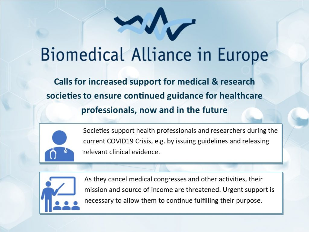 The BioMed Alliance released a new statement and a letter to Commission President Ursula von der Leyen calling for support for medical and research societies to ensure continued guidance for healthcare professionals during the COVID-19 Pandemic. The COVID-19 pandemic poses a major challenge that has a disruptive effect on European health systems and societies. European health professionals are working around the clock to save the lives of European patients, and governments and the EU Institutions are doing everything in their power to support their heroic efforts. However, the medical and research societies that health professionals rely on for up-to-date information on clinical practice are facing serious challenges. As medical congresses are being cancelled or postponed, not-for-profit societies are faced with substantial costs that may threaten their existence and thus their ability to provide clinical guidance to health professionals. Therefore, the Biomedical Alliance in Europe calls on the EU and Member States to support medical societies to ensure they can continue providing their services now and in the future.